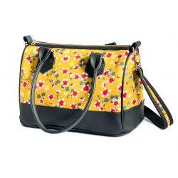 Sac à main femme bowling jaune moutarde et fleurs cerisiers