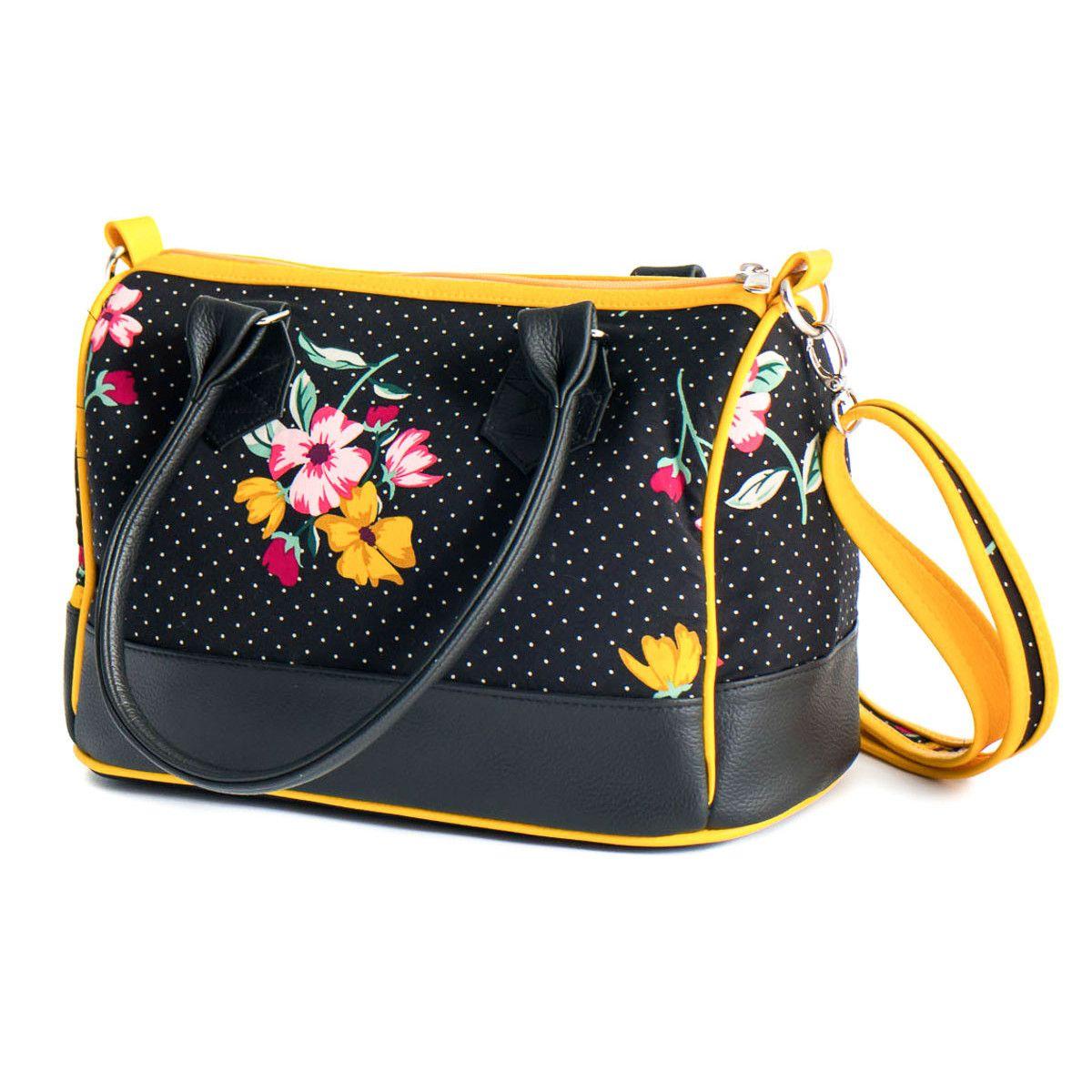 Sac à main femme bowling noir et jaune à fleurs