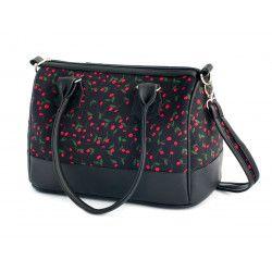 Sac à main femme bowling noir et fleurs rouge fraise