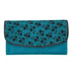 Portefeuille bleu canard et fleurs