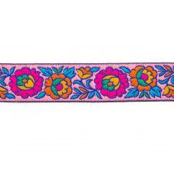 Galon brodé 3cm Fleurs roses