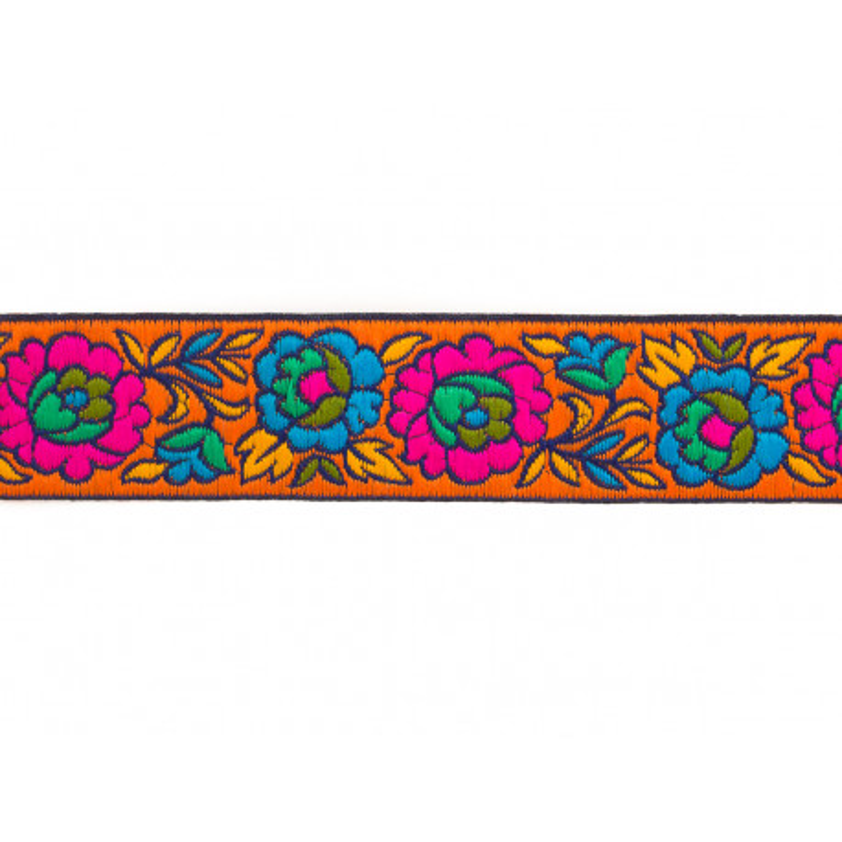 Galon brodé 3cm Fleurs orange
