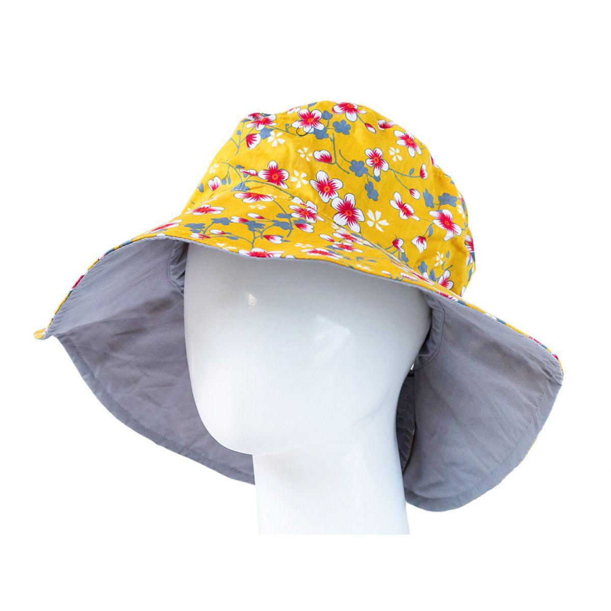 Chapeau capeline coton adulte réversible gris perle et jaune moutarde fleurs de cerisiers