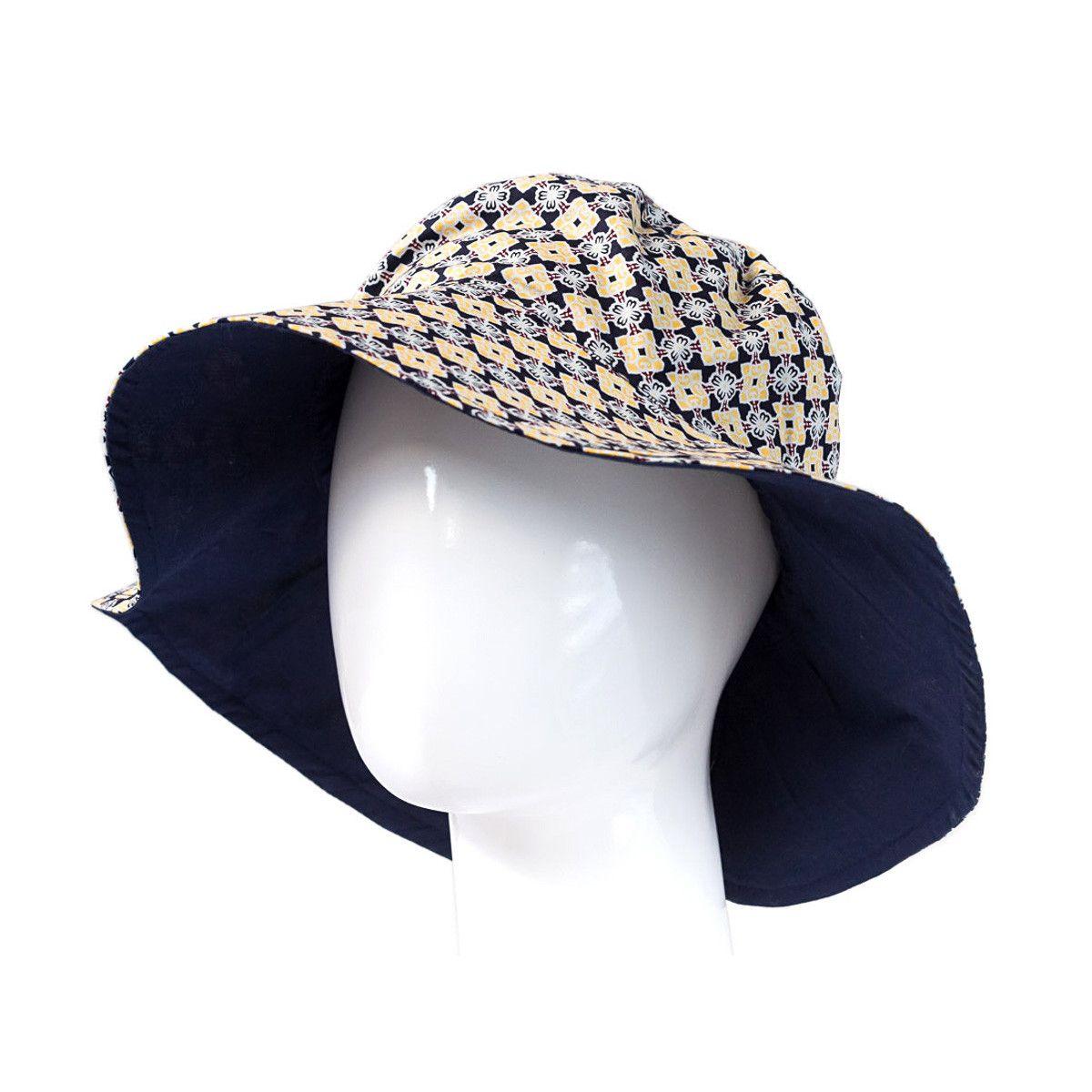 Chapeau capeline coton adulte réversible bleu marine et jaune