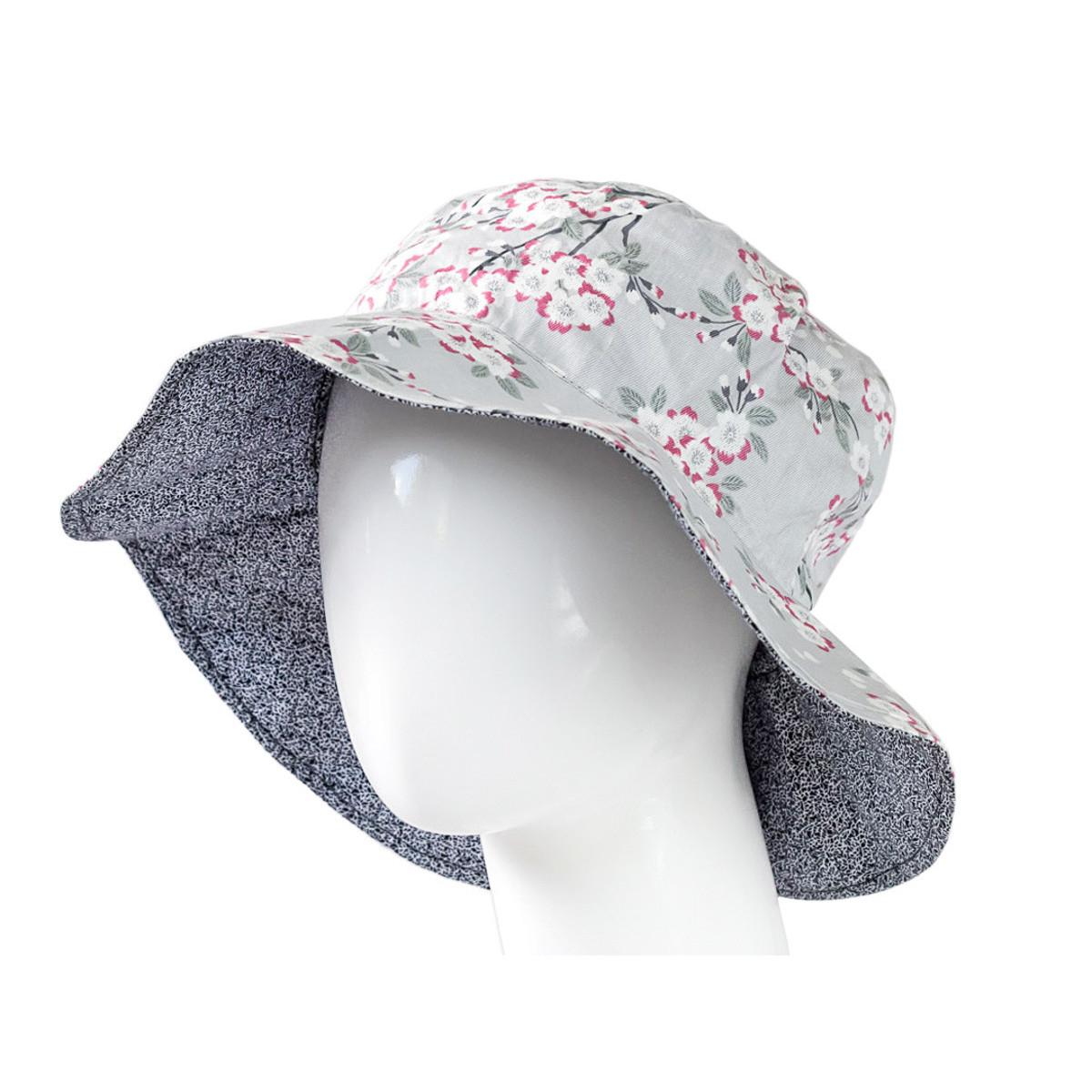 Chapeau capeline coton adulte réversible gris perle et fleurs de cerisiers