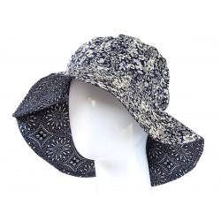 Chapeau capeline coton adulte réversible bleu nuit et petites fleurs