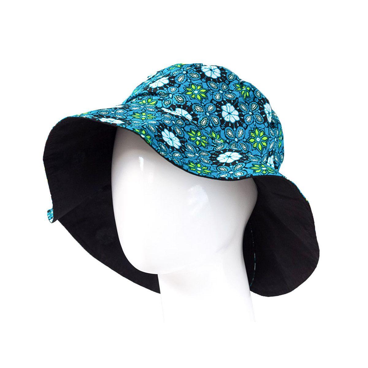 Chapeau capeline coton adulte réversible noir et bleu à motifs
