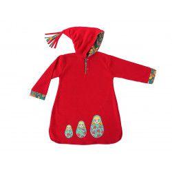 Burnou djellaba polaire enfant rouge et matriochka poupées russes