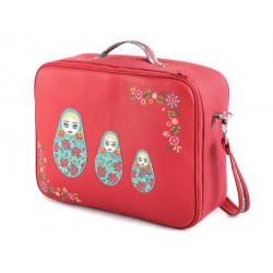 Valise originale de voyage bébé, enfant rouge et matriochka vert menthe