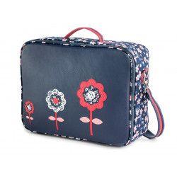 Valise originale de voyage bébé, enfant bleue marine et fleurs rouge