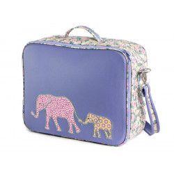 Valise originale de voyage bébé, enfant violet avec eléphants et fleurs