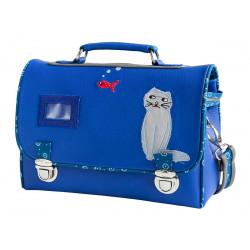 Sac cartable enfant école maternelle bleu avec chat rêveur