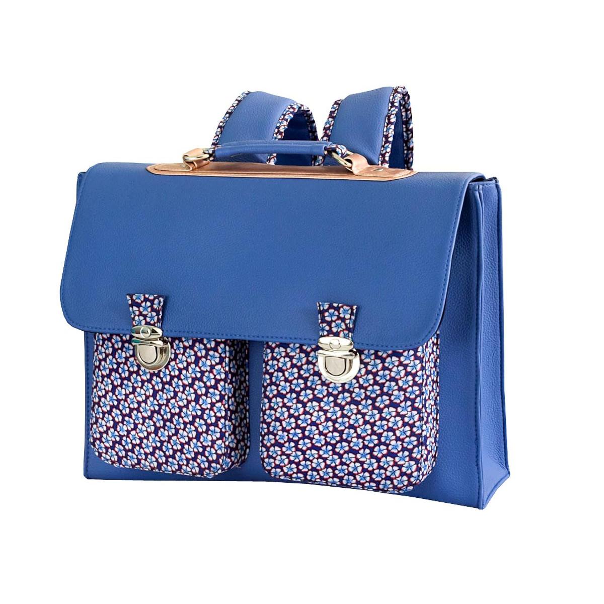 Cartable école primaire enfant bleu avec motifs