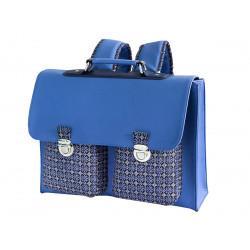 Cartable école primaire enfant bleu motif azulejos