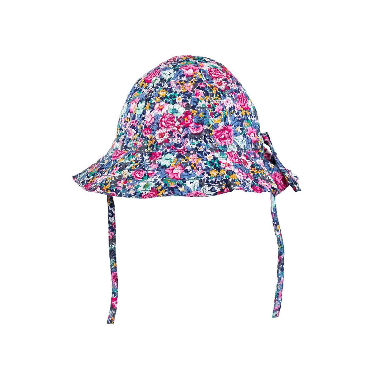 Chapeau de soleil bébé coton réglable à fleurs