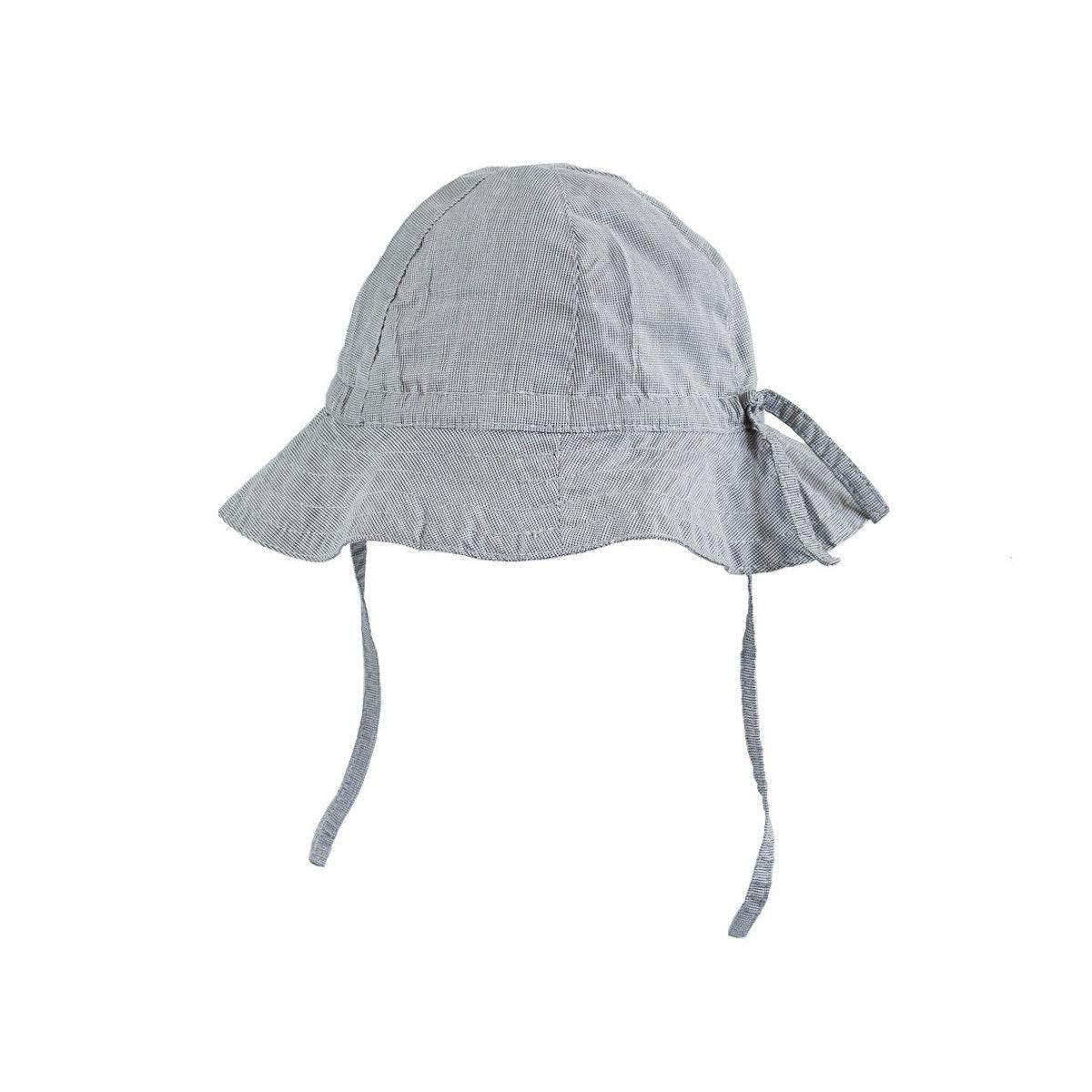 Chapeau de soleil bébé coton réglable gris