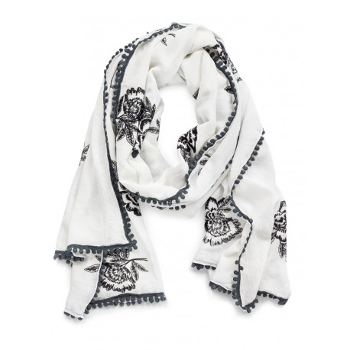 Chèche foulard femme coton blanc avec roses noires