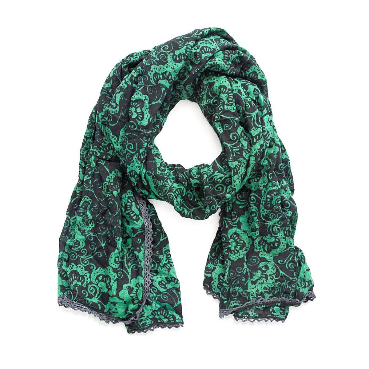 Chèche foulard femme coton gris foncé et turquoise