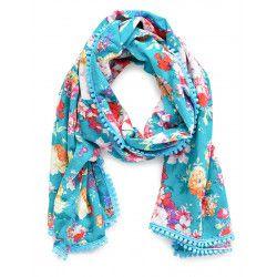 Chèche foulard femme coton Fleurs sur fond turquoise
