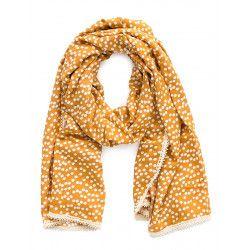 Chèche foulard femme coton moutarde à pois