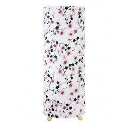 Grande lampe tube à poser blanche avec fleurs