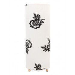 Grande lampe tube à poser avec roses noires