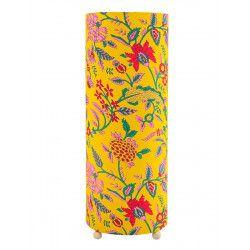Grande lampe tube à poser fleurs sur fond jaune