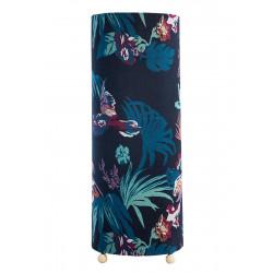 Grande lampe tube à poser avec des fleurs exotiques