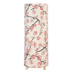 Grande lampe tube à poser cerisier sur fond beige