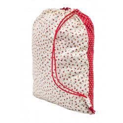 Sac baluchon enfant coton petites fleurs rouge sur fond blanc
