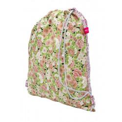 Sac baluchon enfant coton fleurs roses et blanches