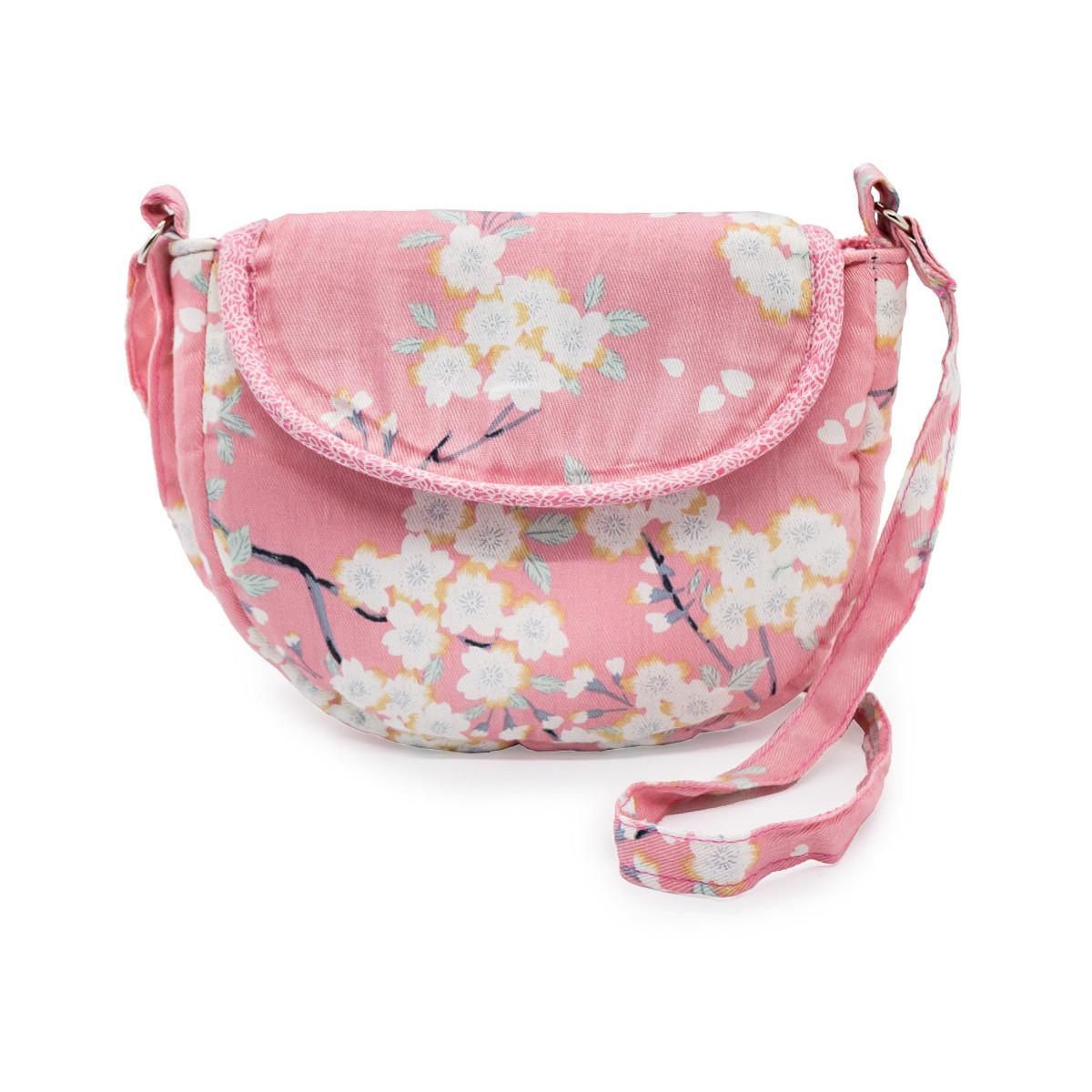 Petit sac à main bandoulière cerisiers sur fond rose