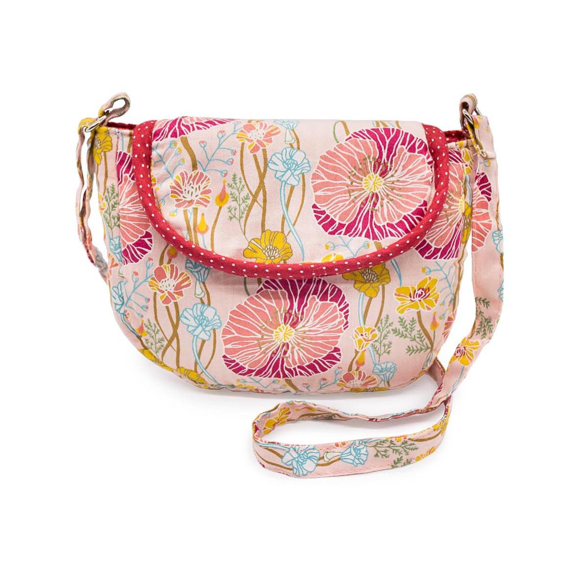 Petit sac à main bandoulière coquelicots sur fond rose