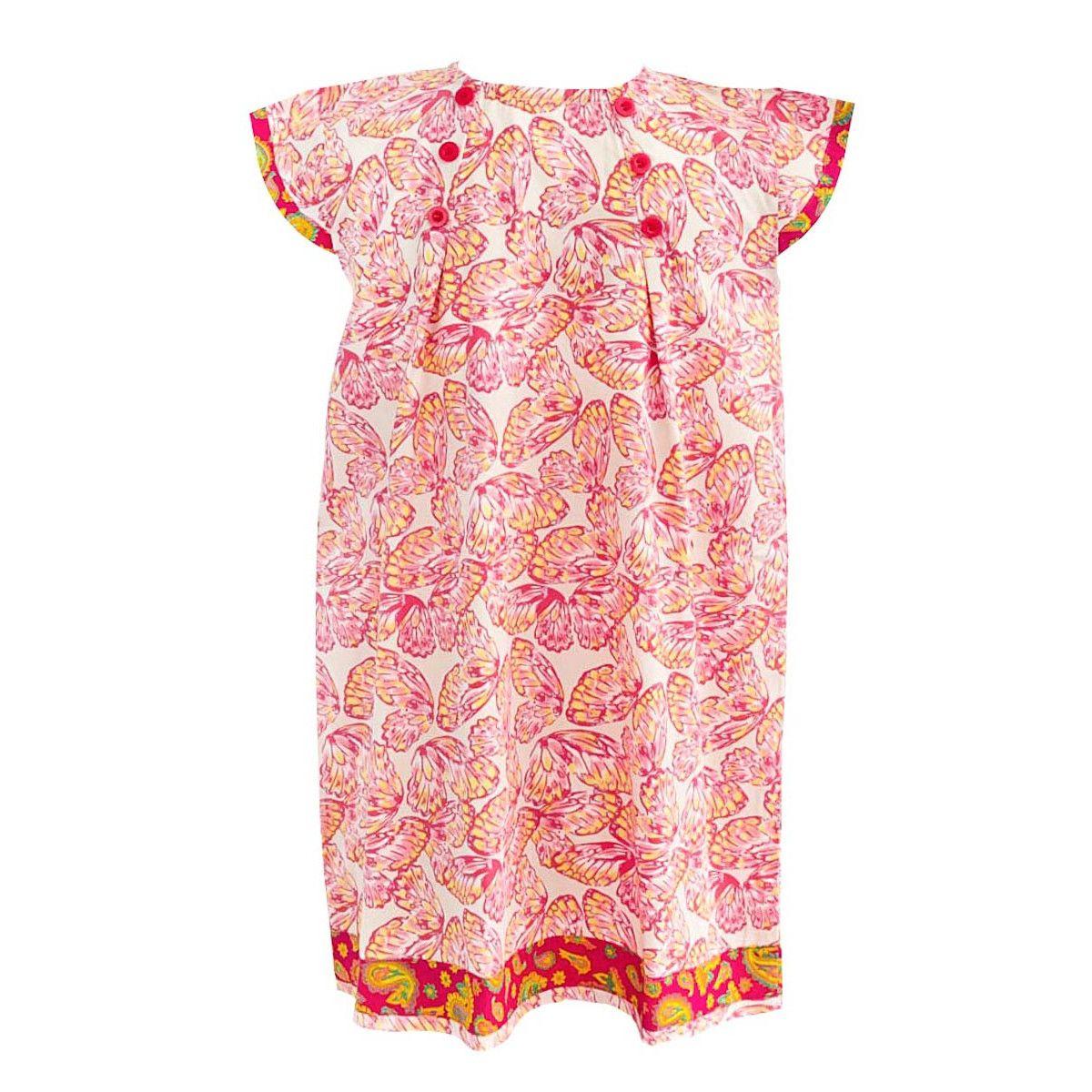 Robe manches courtes coton fille motif papillon