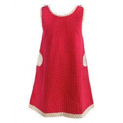Robe sans manches coton fille 2-10 ans pois rouge