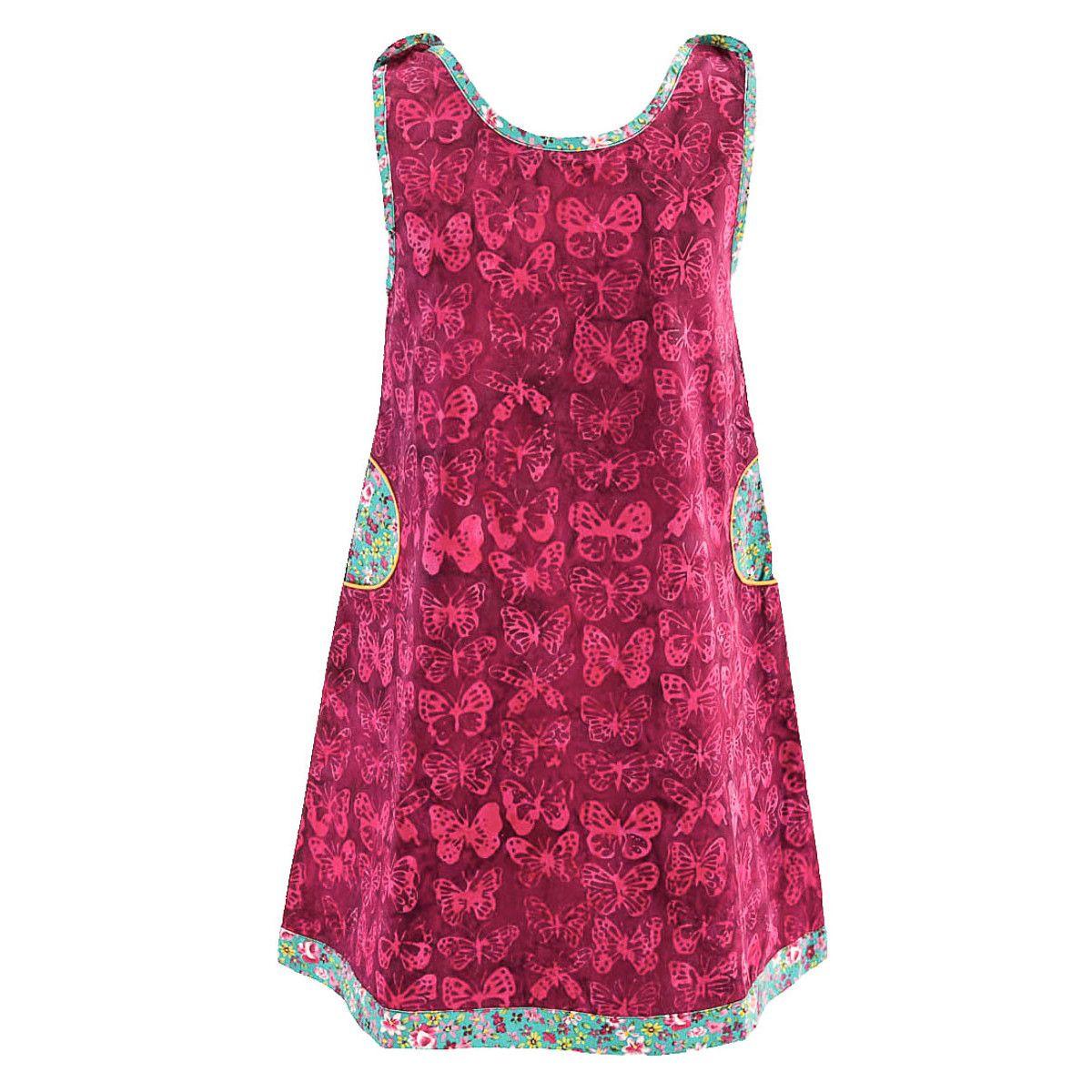 Robe sans manches coton fille 2-10 ans papillons sur fond rose