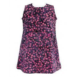 Robe manches courtes coton fille 2-10 ans cerises sur fond violet