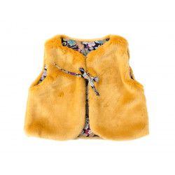 Gilet réversible bébé 0-3 ans fausse fourrure jaune motif fleur