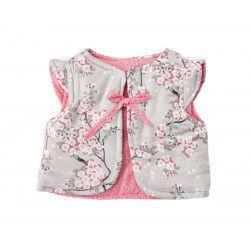Gilet réversible bébé 0-3 ans fleurs de cerisier