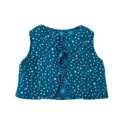 Gilet réversible bébé 0-3 ans Etoiles sur fond bleu