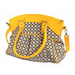 Sac bowling femme bandoulière jaune motif azulejos