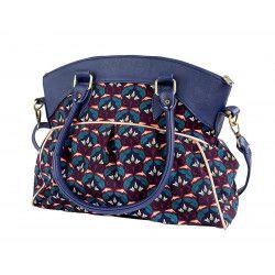 Sac bowling femme bandoulière bleu motif fleurs