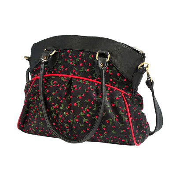 Sac bowling femme bandoulière noir avec petites fleurs rouges