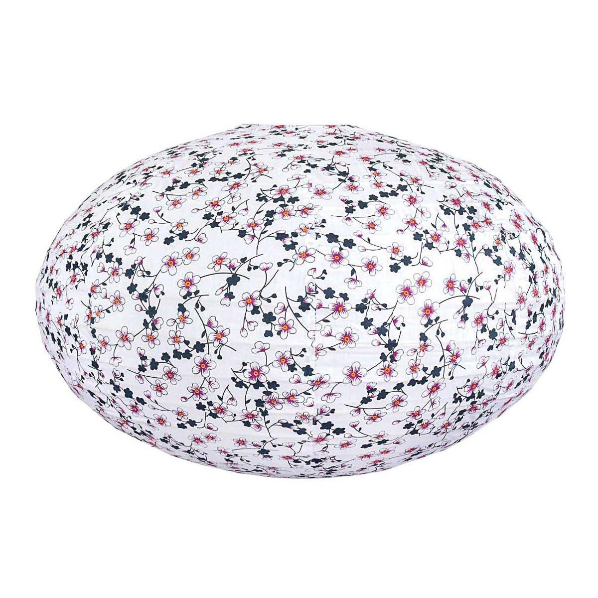 Lampion tissu boule japonaise ovale blanc et fleurs cerisiers