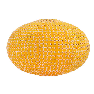 Lampion tissu boule japonaise ovale jaune broderie anglaise