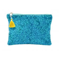 Grande pochette en coton imprimé bleu atoll