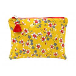 Grande pochette en coton jaune à fleurs de cerisier