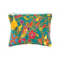 Grande pochette en coton émeraude à fleurs multicolores