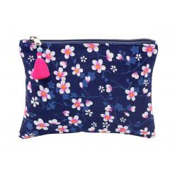 Grande pochette en coton marine à fleurs de cerisier