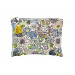 Grande pochette en coton bleu gris à fleurs de tournesol